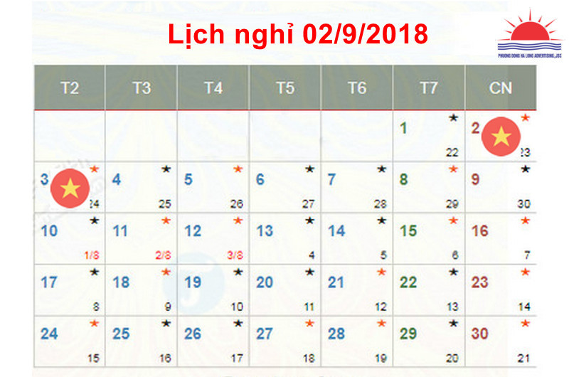 Thông báo lịch nghỉ Lễ Quốc Khánh 2/9/2018 Quảng cáo Phương Đông Hạ Long