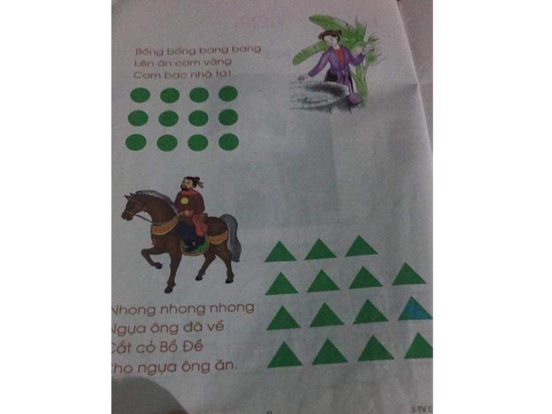 Phần hình tròn, hình tam giác được in trong sách để học sinh đọc