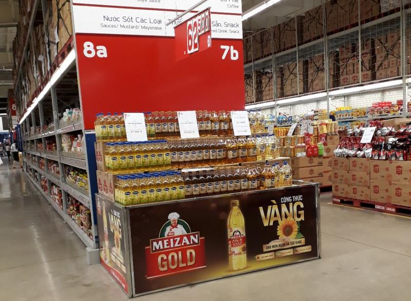 Thi công biển quảng cáo dầu ăn Meizan Gold tại siêu thị Mega Market Hạ Long