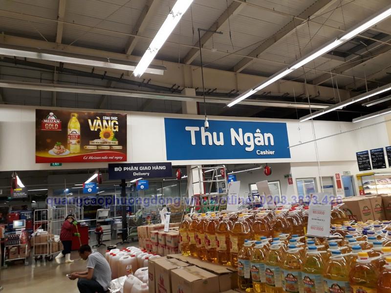 Thi công biển quảng cáo dầu ăn Meizan Gold tại Mega Market Hạ Long