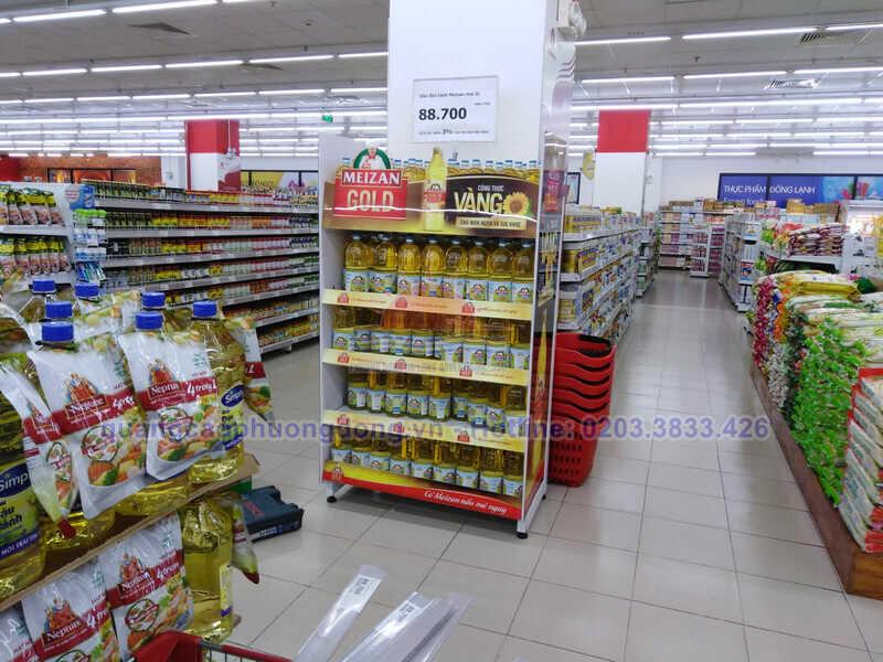 Thi công kệ hàng dầu ăn Meizan Gold tại Vincom Plaza Hạ Long