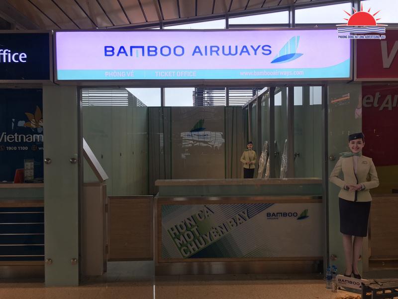 Biển hộp đèn in UV bạt 3M quầy vé Bamboo Airways