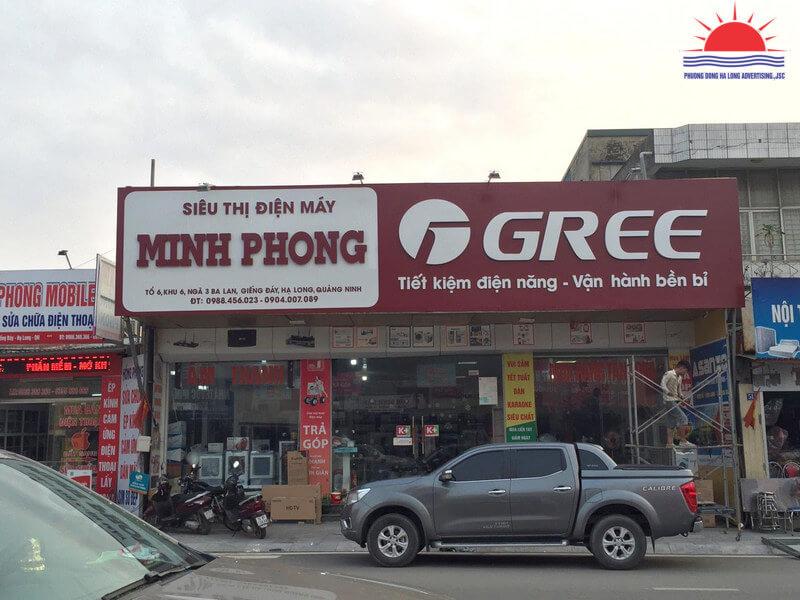 Thi công biển siêu thị điện máy điều hòa Gree