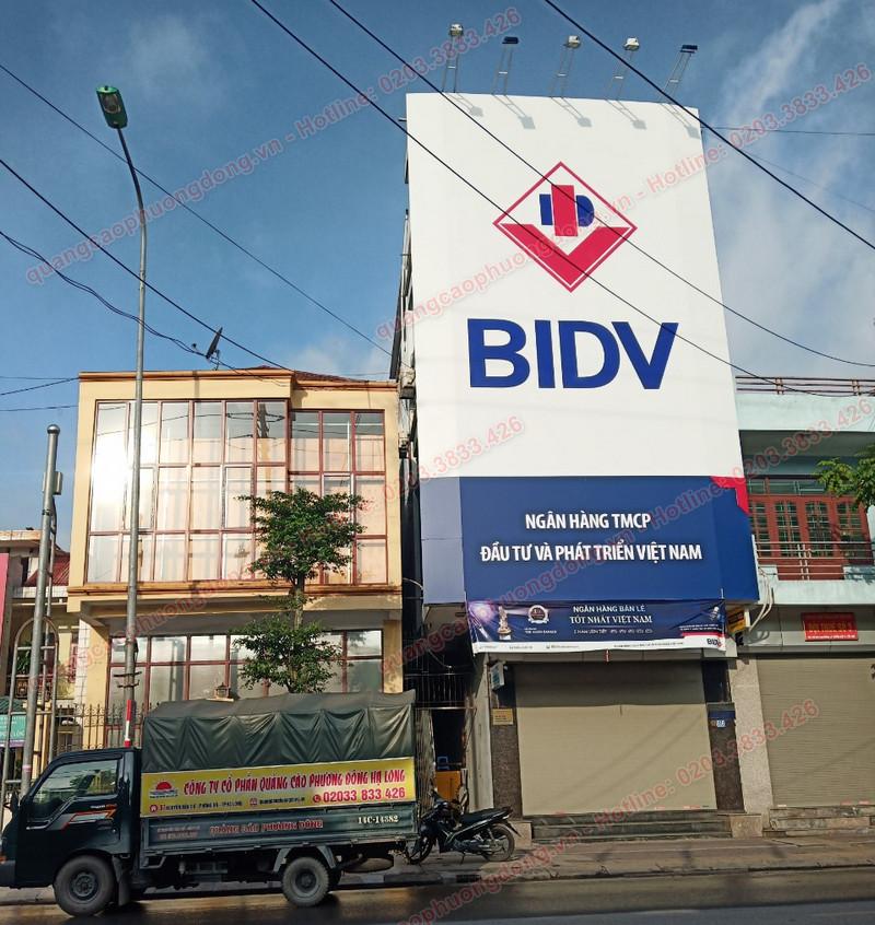 Thi công mặt dựng alu biển ngân hàng BIDV