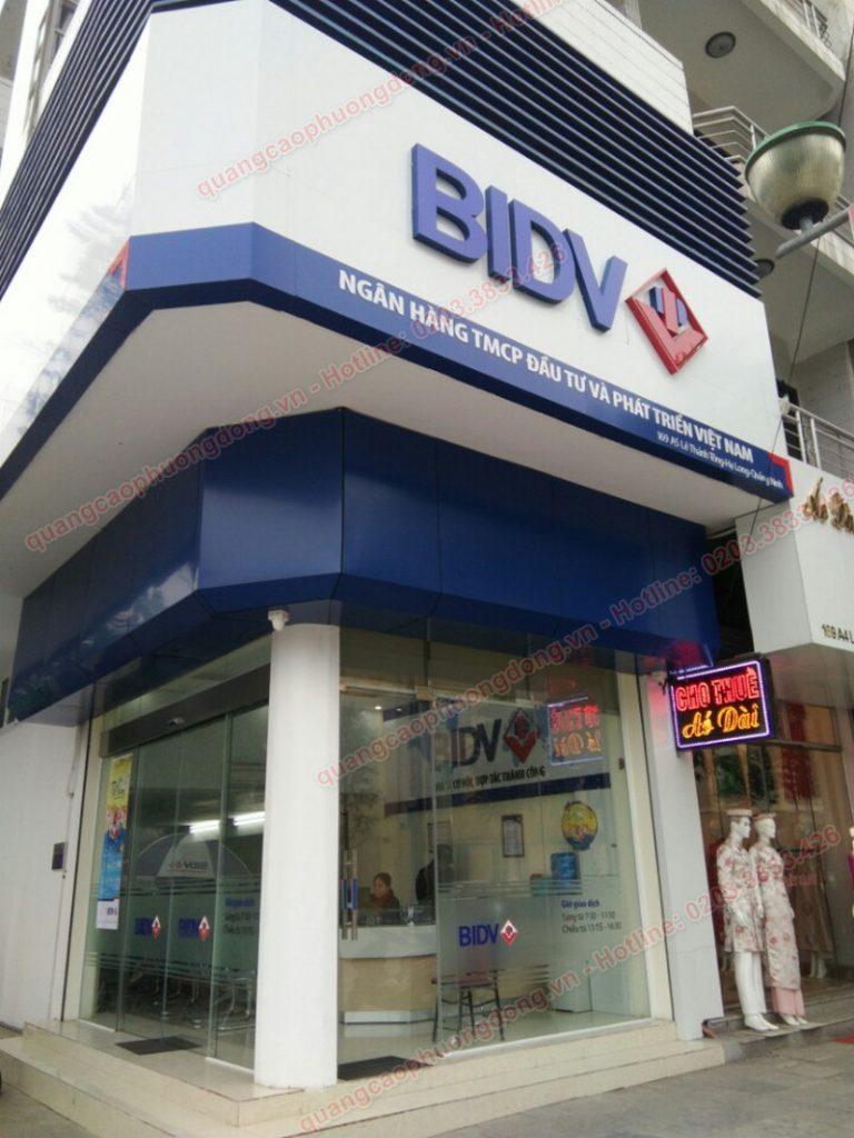 Thi công biển hiệu phòng giao dịch ngân hàng BIDV