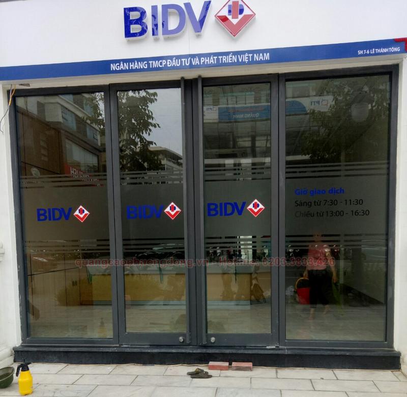 Dán decal cửa kính tại PGD ngân hàng BIDV chi nhánh Quảng Ninh