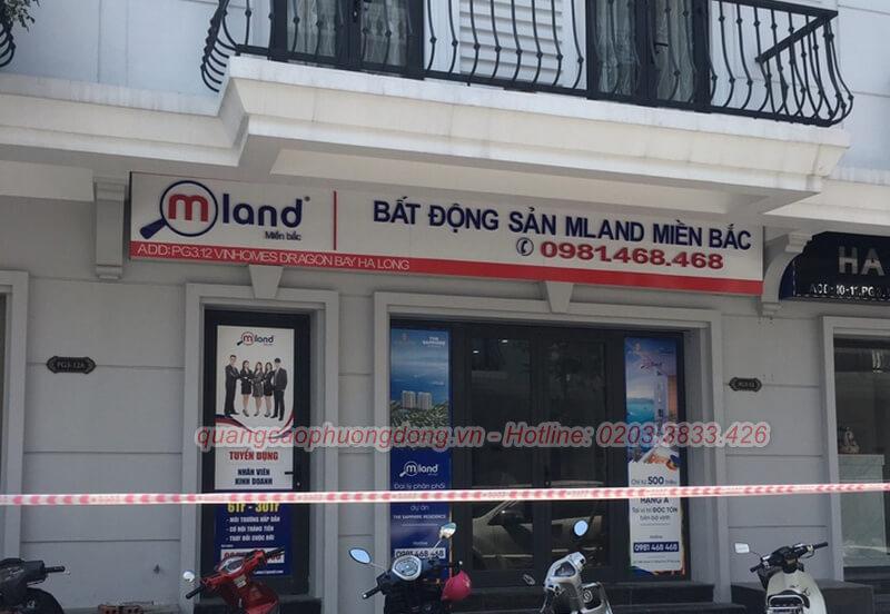 Thi công biển hiệu công ty bất động sản Mland ở Hạ Long