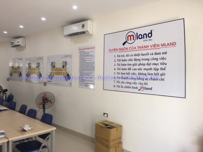 thi công biển nội quy cho công ty bất động sản Mland