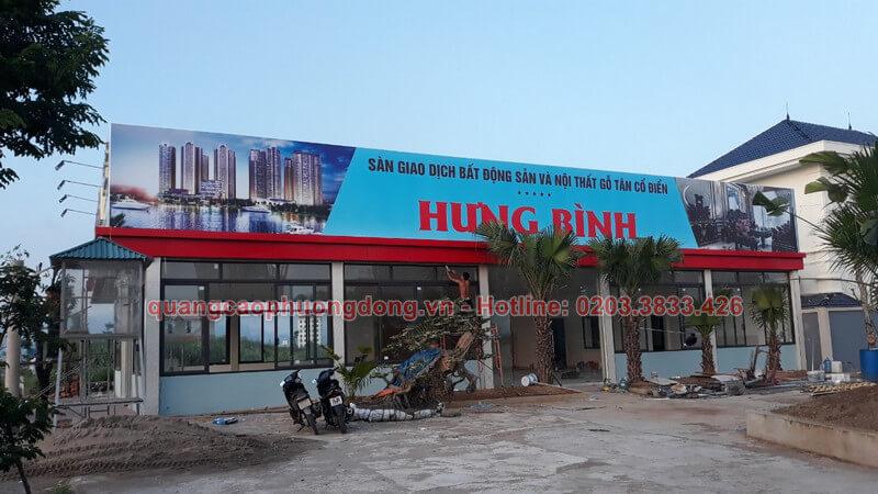 thiết kế và thi công lắp đặt biển bạt công ty Hưng Bình