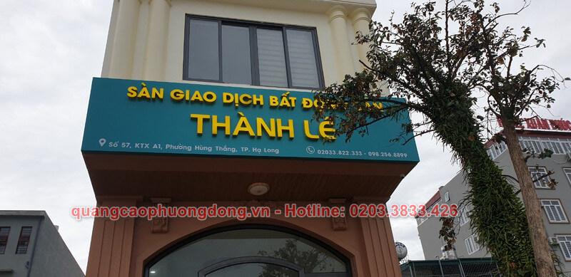 Thi công biển hiệu sàn giao dịch công ty Thành Lê