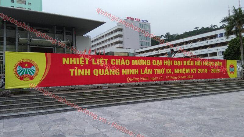 Treo băng rôn tại nhà khách tỉnh ủy Quảng Ninh