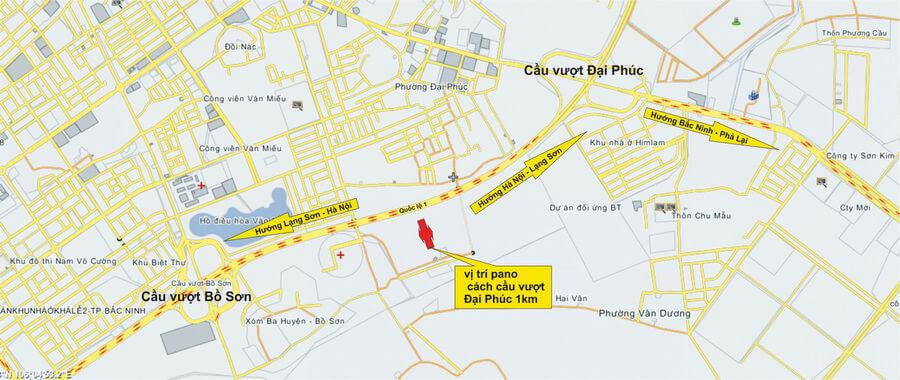Sơ đồ vị trí đặt pano tại thành phố Bắc Ninh