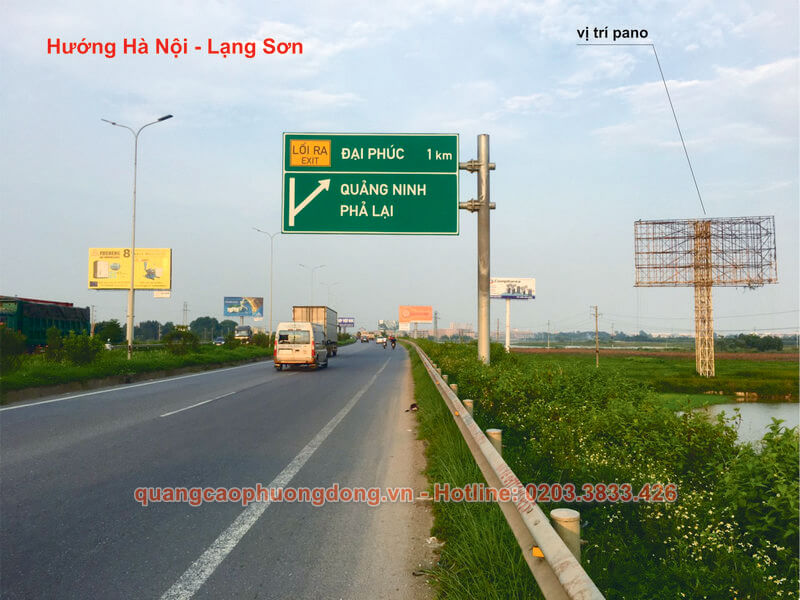 Địa điểm đặt pano cho thuê theo hướng Hà Nội - Lạng Sơn