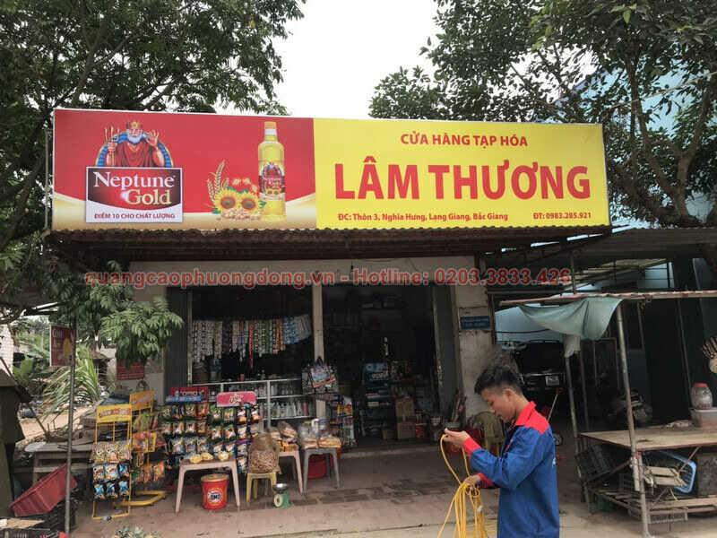 Thi công biển Neptune Gold tại cửa hàng Lâm Thương-Bắc Giang