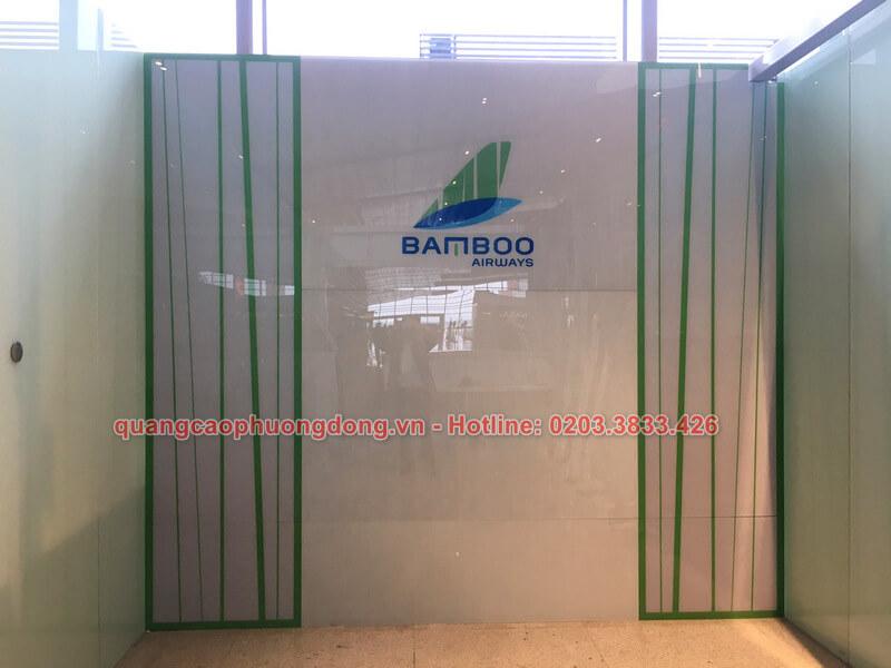 Thi công backdrop hãng hàng không Bamboo Airways