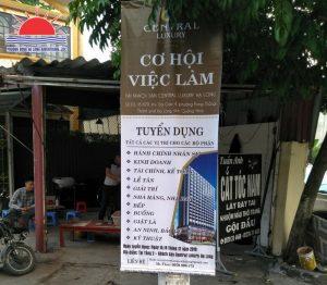 Thi công treo băng rôn, banner Central Luxury Hotel tại Quảng Ninh