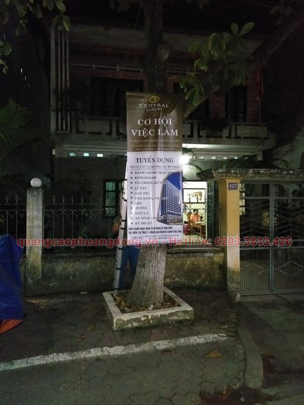 Thi công treo banner tại Uông Bí