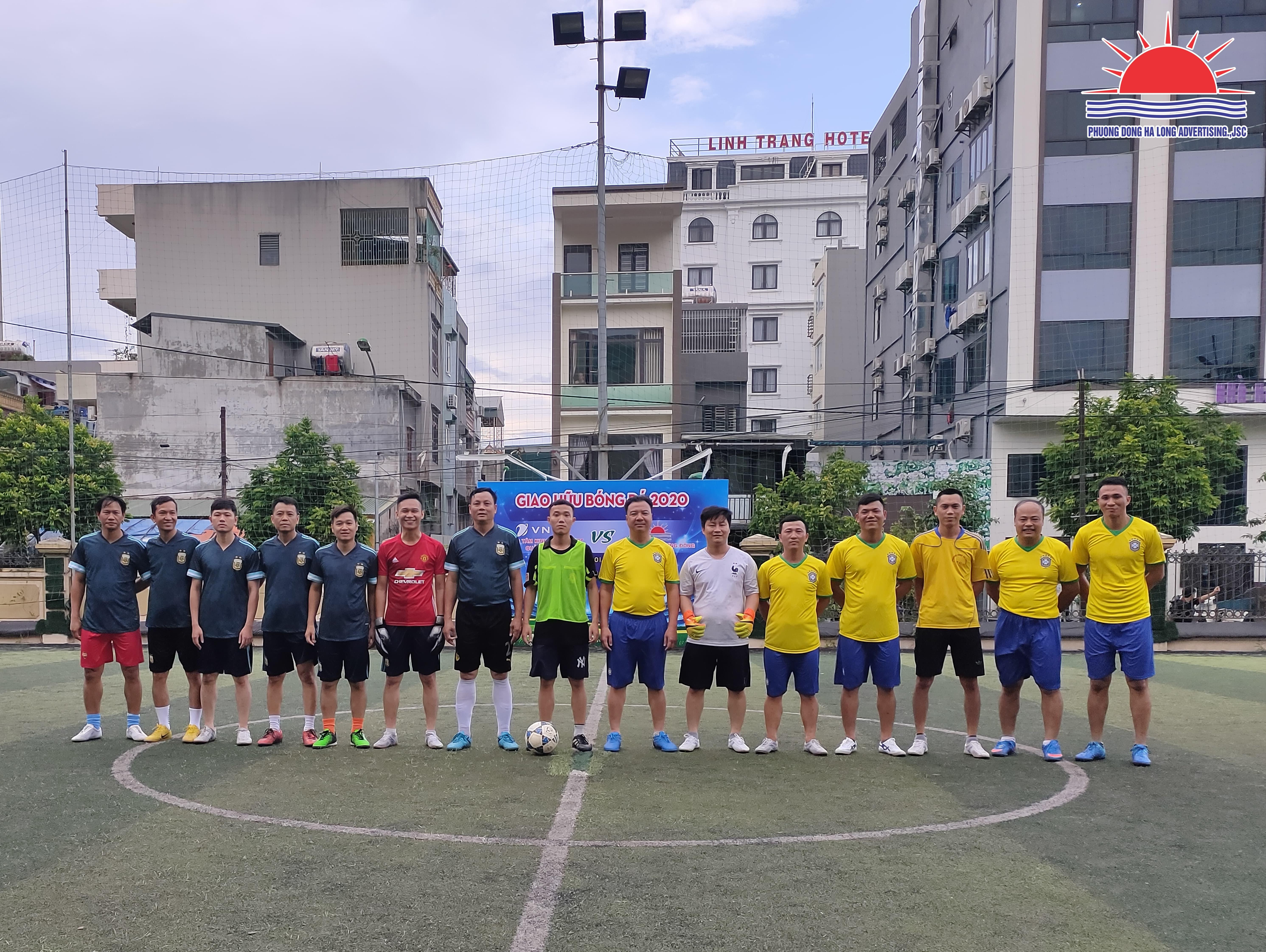 giao hữu bóng đá giữa công ty CP Quảng cáo Phương Đông và Trung tâm kinh doanh VNPT Quảng Ninh