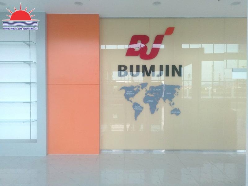 Thi công trang trí backdrop công ty Bumjin