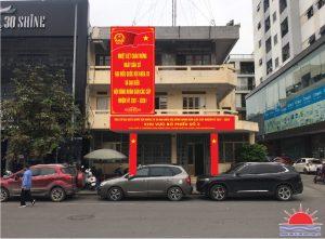 Thi công trang trí khánh tiết chuẩn bị bầu cử tại Quảng Ninh