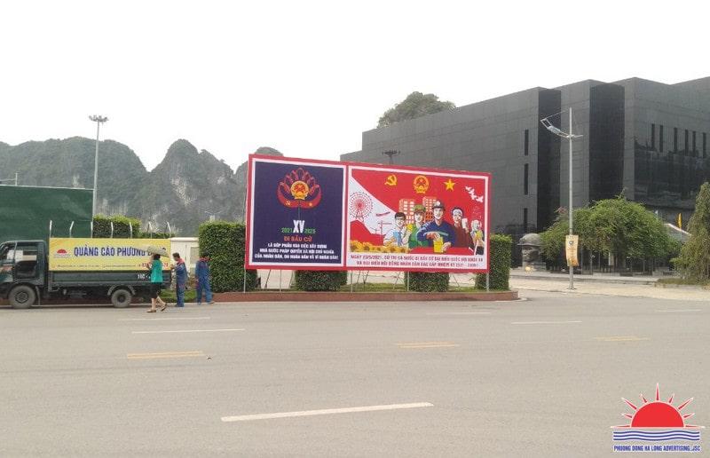Thi công pano tấm lớn trang trí đường phố tại TP Hạ Long