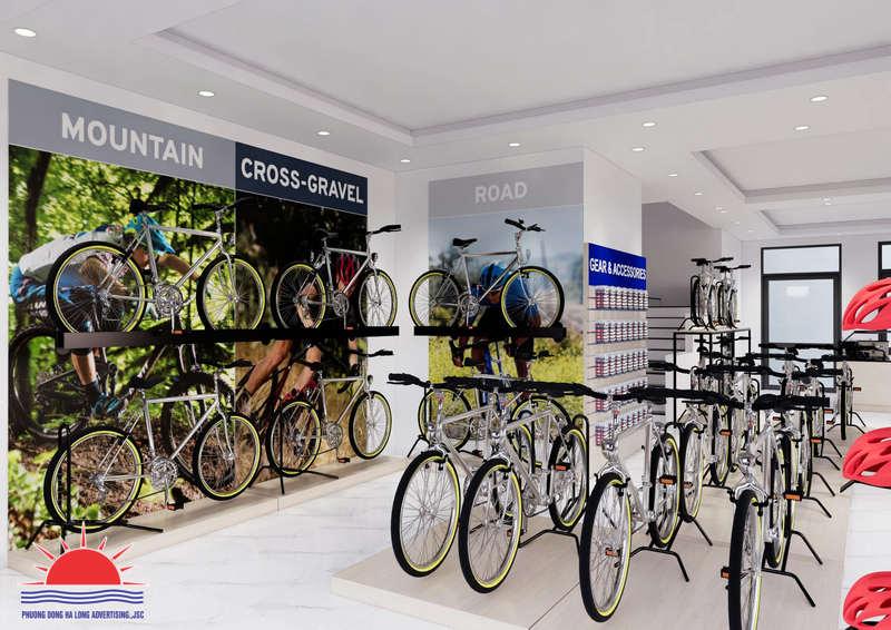 Trang trí decal trong showroom xe đạp Giant Hạ Long