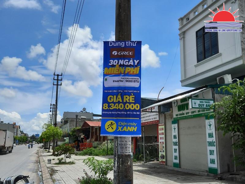 Treo banner khuyến mãi Điện Máy Xanh